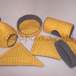 Komplet żółty w białe kropki